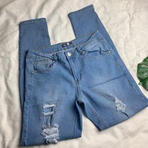 Boohoo Blue Distressed Skinny Jeans • Size US 12